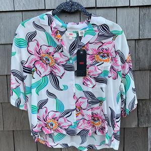 Levi's Mahina White Tropical Print Button-Up Top